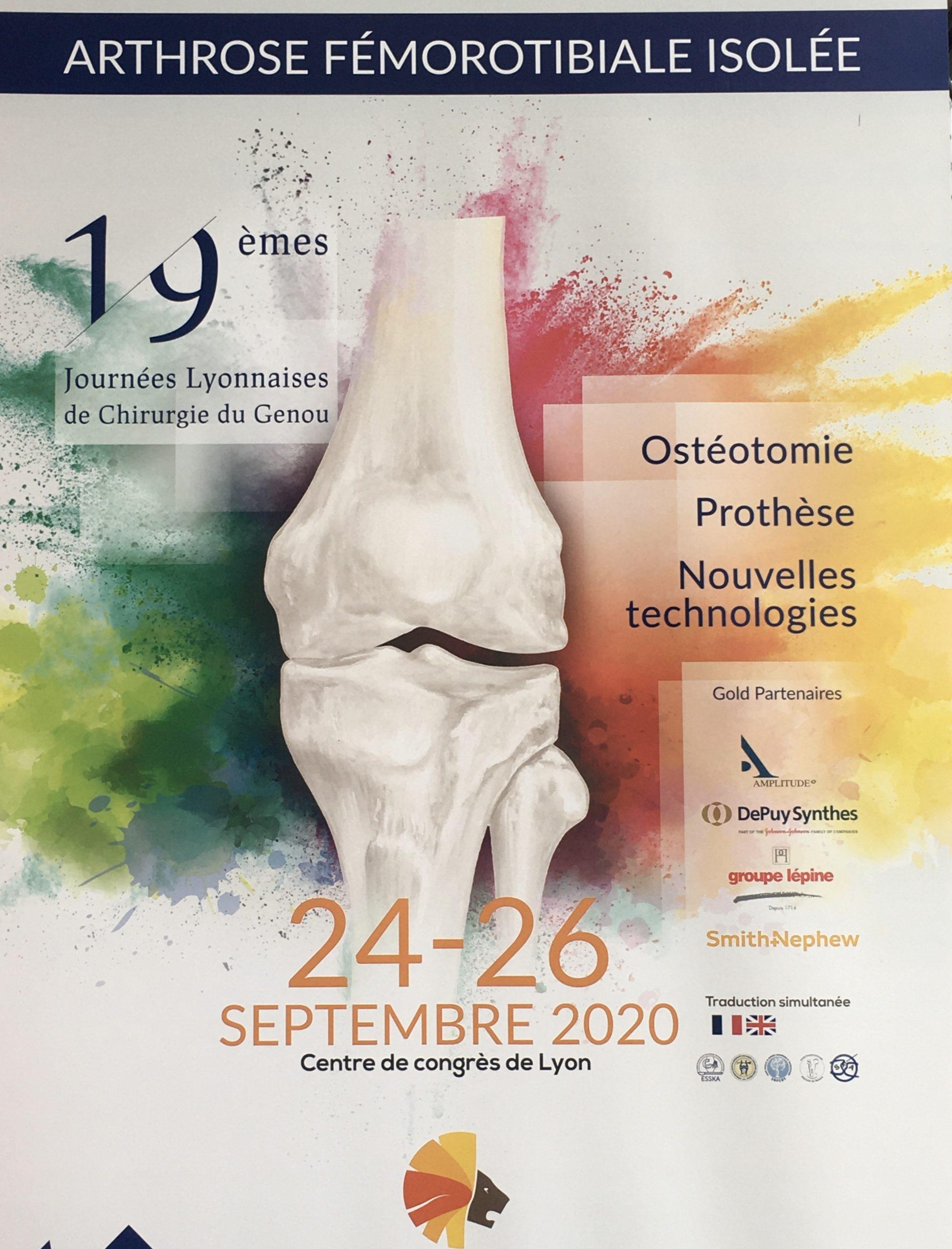 Journées Lyonnaises du genou du 24 au 26 Septembre 2020